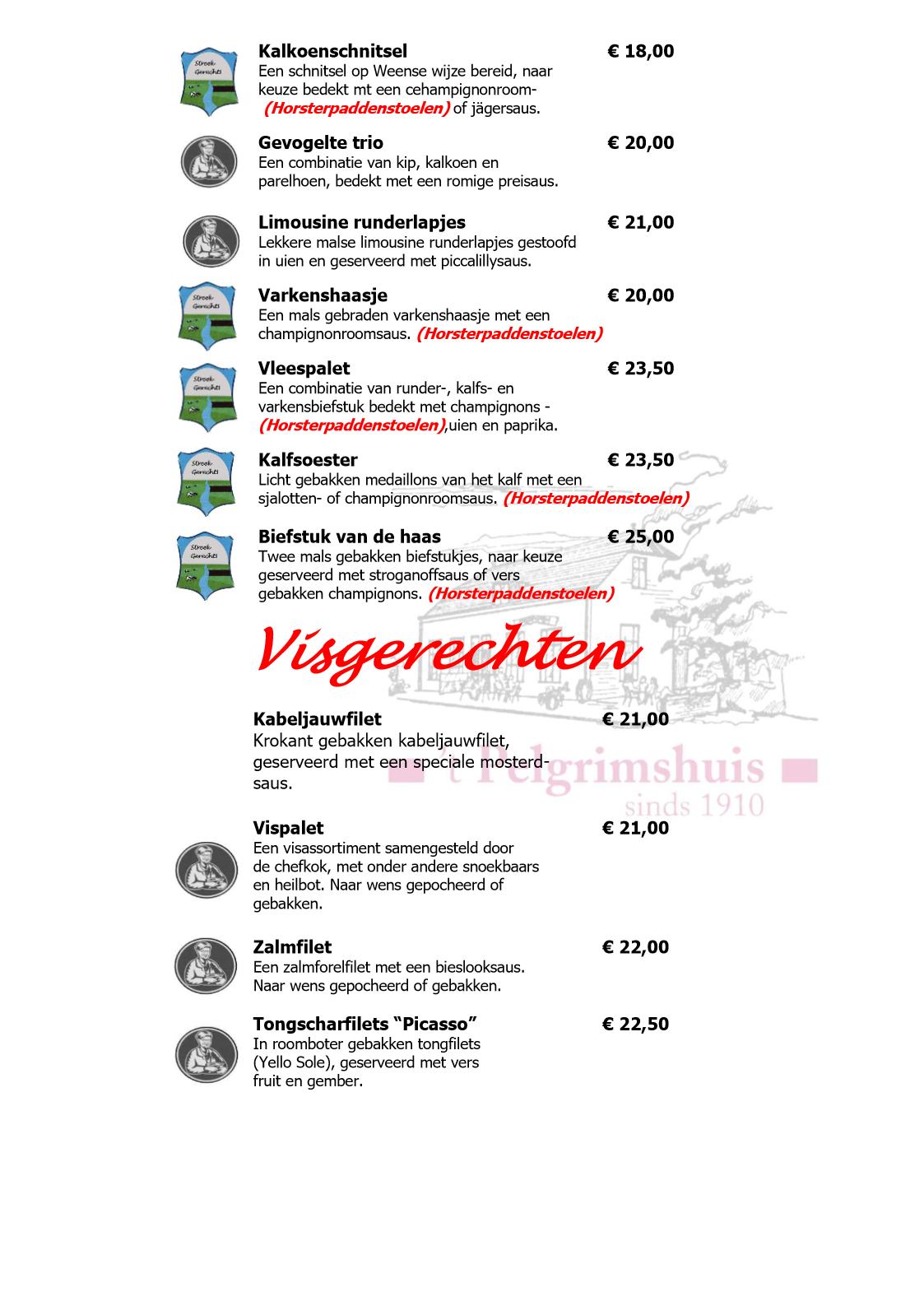 A la Carte Hoofdgerechten & Visgerechten websiteversie 2017