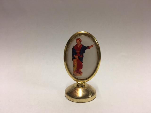 St. Jozef medaillon met voetje, hoogte ca. 5 cm. Pijs € 7,00