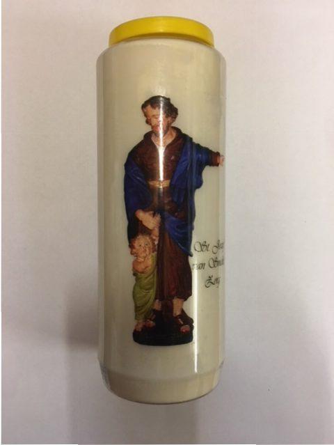 Noveenkaars, St. Jozef Groot, Ca. 18 cm hoog, Diameter 7cm, Brand ongeveer 9 dagen. € 6,00