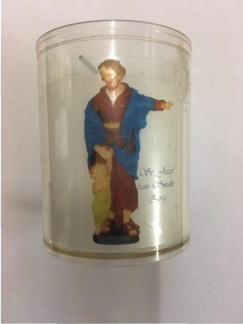 Noveenkaars, St. Jozef klein, Ca. 6 cm hoog, Diameter 4 cm, Brandduur ongeveer 3 dagen, € 2,00