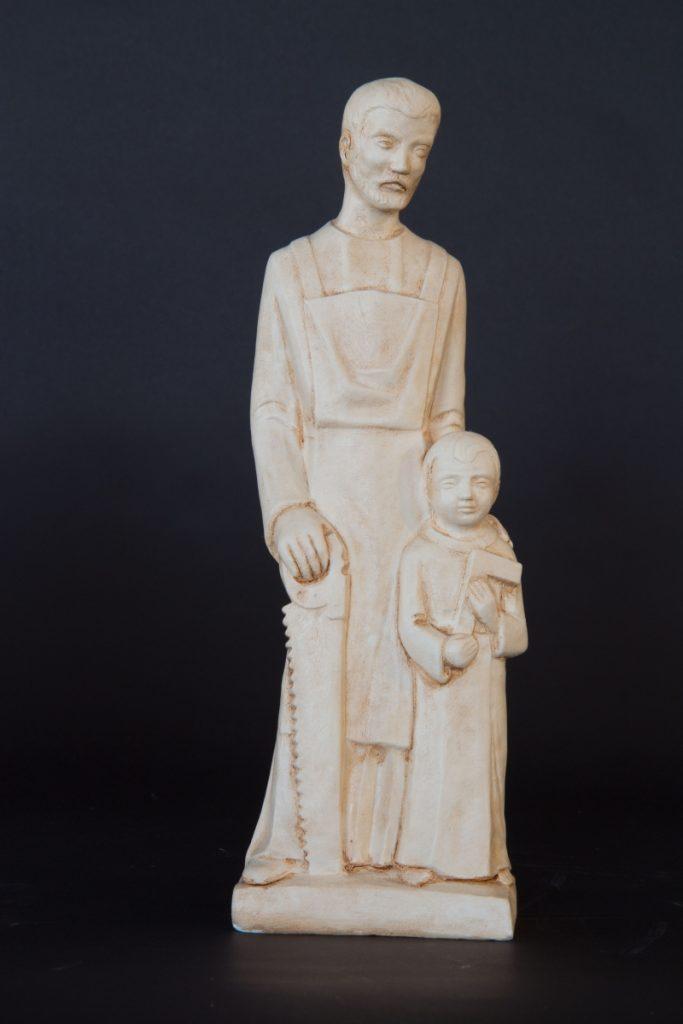 St. Jozefbeeld met kind en zaag, hoogte ca. 34 cm, Prijs € 65,00
