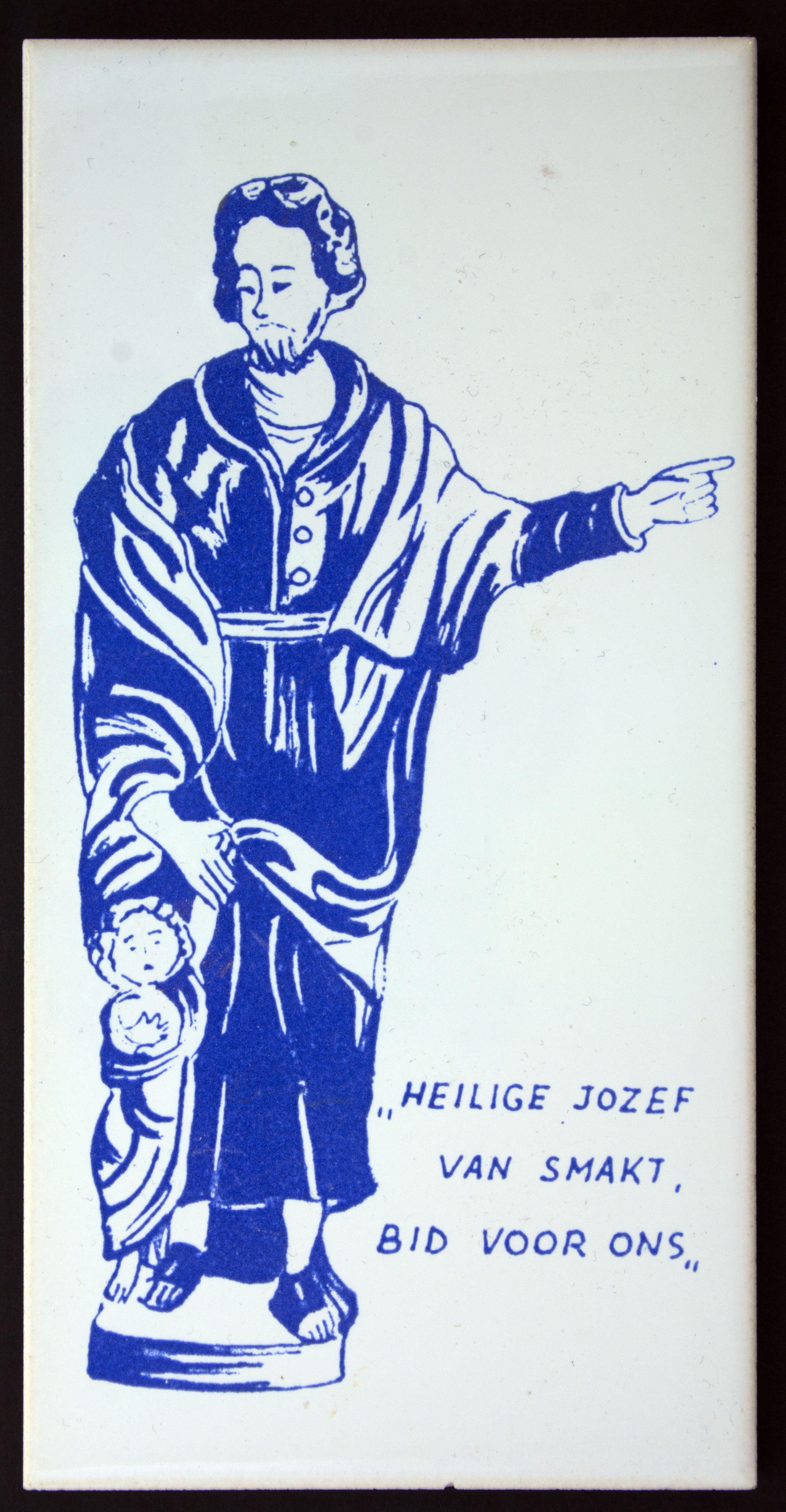 Keramieken Tegel met blauwe opdruk , afmetingen ca. 10 x 20 cm, Prijs € 3,00